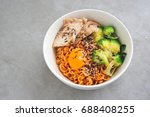 japanese noodle with chicken ... | Shutterstock . vector #688408255