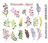 watercolor set of wildflowers | Shutterstock . vector #688408825
