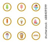 ice cream assortment icons set