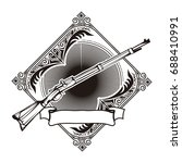 weapon vector design label ... | Shutterstock .eps vector #688410991