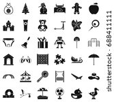 happy childhood icons set