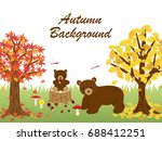 animals in the autumn forest... | Shutterstock .eps vector #688412251