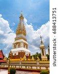 golden pagoda in wat phra that... | Shutterstock . vector #688413751