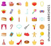 celebrate icons set. cartoon... | Shutterstock .eps vector #688414021