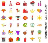 circus icons set. cartoon style ... | Shutterstock .eps vector #688415029