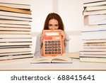 attractive young woman student...   Shutterstock . vector #688415641