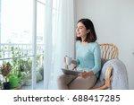 beautiful asian young woman... | Shutterstock . vector #688417285