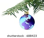 Christmas ball with globe map 1102_03b - stock photo