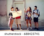 group of touristic friends are... | Shutterstock . vector #688423741