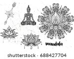 mandala set and other elements. ... | Shutterstock .eps vector #688427704