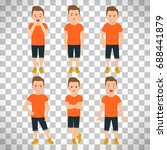 boys different emotions vector... | Shutterstock .eps vector #688441879