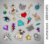 quirky fashion patches set with ... | Shutterstock .eps vector #688441891