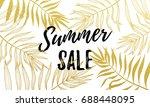 summer sale gold palm leaf... | Shutterstock .eps vector #688448095
