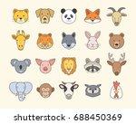 set of cute animal heads | Shutterstock .eps vector #688450369