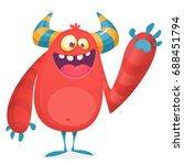 Stock vector happy cool cartoon fat monster red and horned vector monster character 688451794