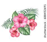 red hibiscus flowers and palm... | Shutterstock . vector #688452691