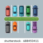 top view parking cars on... | Shutterstock .eps vector #688453411