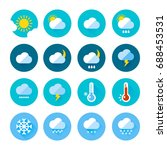 colored weather icons in flat...   Shutterstock .eps vector #688453531