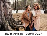 young happy loving couple... | Shutterstock . vector #688460227
