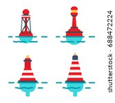 Striped Red Plastic Buoys With...