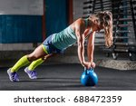 woman athlete exercising with... | Shutterstock . vector #688472359
