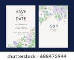 wedding invitation card template   Shutterstock .eps vector #688472944