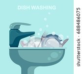 dishwashing. washing dishes.... | Shutterstock .eps vector #688486075
