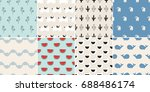 set of 8 simple seamless... | Shutterstock .eps vector #688486174