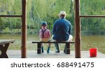little boy and hid grandpa are...   Shutterstock . vector #688491475