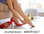 young woman with slim legs... | Shutterstock . vector #688491817