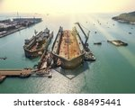 aerial view shipyard have crane ... | Shutterstock . vector #688495441