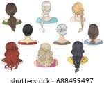 vector female hairstyles. women ... | Shutterstock .eps vector #688499497