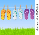 Stock vector image of a colorful scene with flip flops hanging on a clothes line with sky and grass 68850163