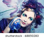 creative lady in hat with... | Shutterstock . vector #68850283