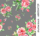 seamless watercolor pink roses... | Shutterstock . vector #688504729