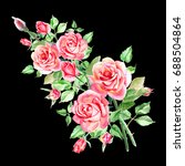 watercolor pink roses on black... | Shutterstock . vector #688504864