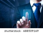 businessman scanning finger... | Shutterstock . vector #688509169