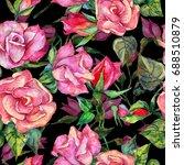 wildflower rosa flower  pattern ...   Shutterstock . vector #688510879