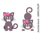 Stock vector cute cat girl set 688519639