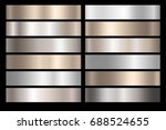 metal silver  bronze and gold... | Shutterstock .eps vector #688524655