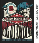 mods vs. rockers vintage vector ... | Shutterstock .eps vector #688527109
