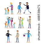 people celebrating new year on... | Shutterstock . vector #688538671