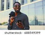 stylish black american male... | Shutterstock . vector #688549399