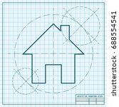 vector blueprint home icon 2.... | Shutterstock .eps vector #688554541