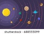 solar system with planets and... | Shutterstock .eps vector #688555099
