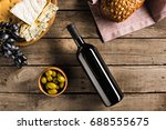 top view of bottle of red wine  ... | Shutterstock . vector #688555675