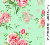 seamless watercolor pink roses... | Shutterstock . vector #688556749