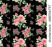 seamless watercolor pink roses... | Shutterstock . vector #688556797