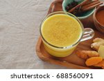 turmeric latte  golden milk ... | Shutterstock . vector #688560091