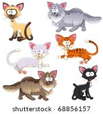 family of cats. funny cartoon... | Shutterstock .eps vector #68856157